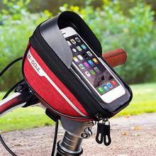 Велосипедная велосипедная трубка на руль, сумка для мобильного телефона, чехол-держатель, чехол Pannier, водонепроницаемый, с сенсорным экраном, из полиэстера, для велосипеда ba