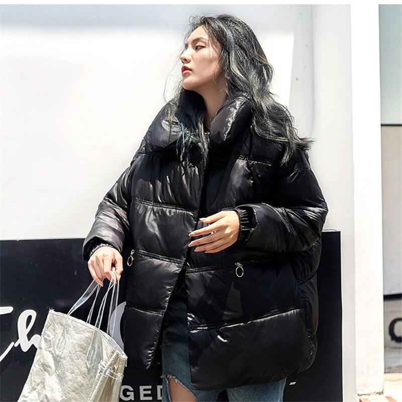 Карманы Теплое повседневное пальто парка куртка зимняя мода Casaco новая верхняя одежда свободные однотонные хлопковые на молнии мягкие женские