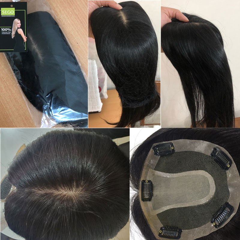 SEGO 15x16cm 10-22inch Straight Silk Base Hair Topper Hairpieces For Women 100% Natural Machine Made Remy Human Wig Toupee Hair