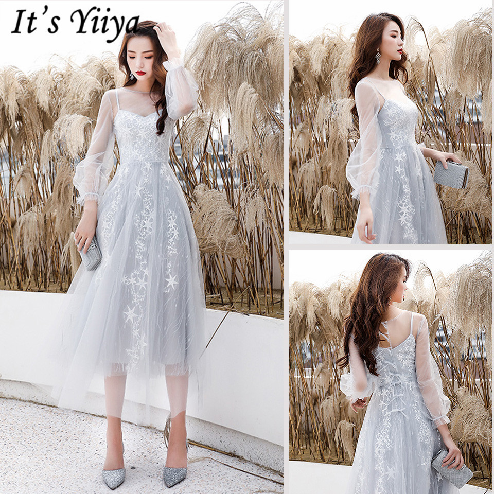 It's Yiiya Prom Dresses Illusion Three Quarter Sleeve O-Neck Short Prom Dress Elegant A-Line Embroidery Vestidos De Gala LF227