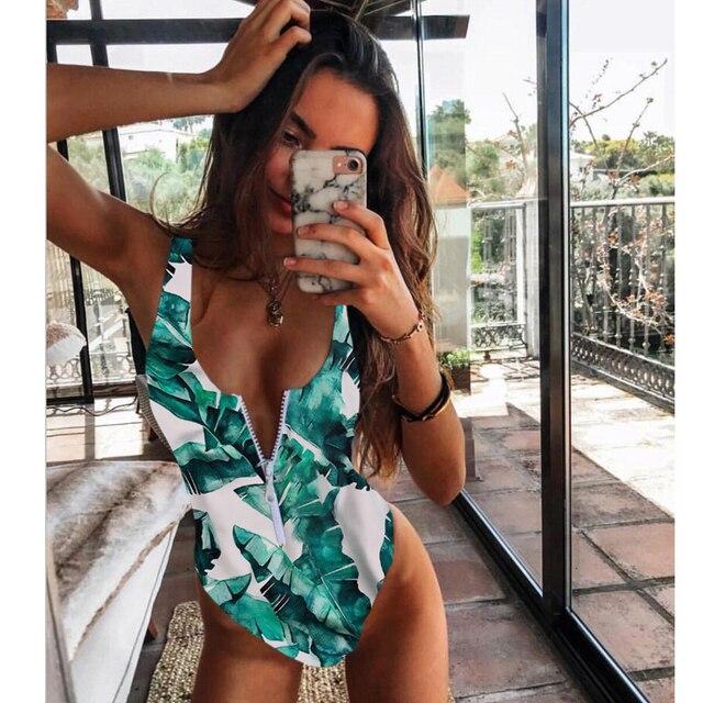 Sexy Zipper One Piece Swimsuit Women Solid Swimwear Bodysuit Swimsuit Push Up Monokini Bathing Suit Summer Beachwear XL