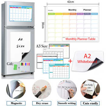 A2 Size Magnetic Whiteboar and Monthly&Weekly Planner Set Package Dry Erase Fridge Calendar for Sticker Memo Boards - DISCOUNT ITEM  51 OFF All Category
