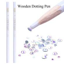2pcs Wooden Nail Art Dotting Pen Rhinestones Crystal Gems Picking Dotting Wax Pencil For Nail Art Decor Manicure Tool LATR36-1