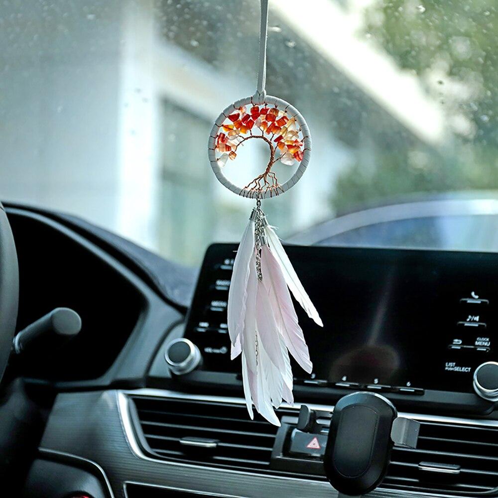Dream Catchers для Life Tree, Автомобильная подвеска для зеркала заднего вида, декор перьями, ветряной колокольчик, подвесные украшения, автомобильные...