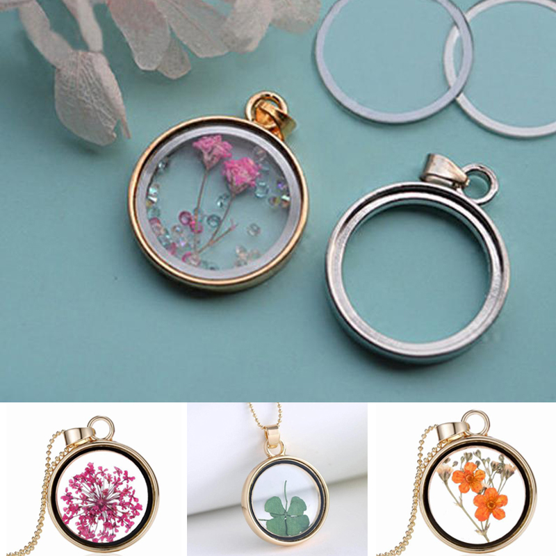 Women Small Round Disc Round Pendant Butterflies Glass Cabochon Jewelry Pendant Necklace Gift for Women