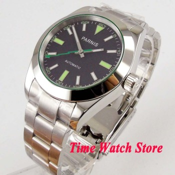 Polished 40mm Parnis 21 jewels MIYOTA 8215 Automatic Men's watch sapphire glass luminous black dial green marks  1037