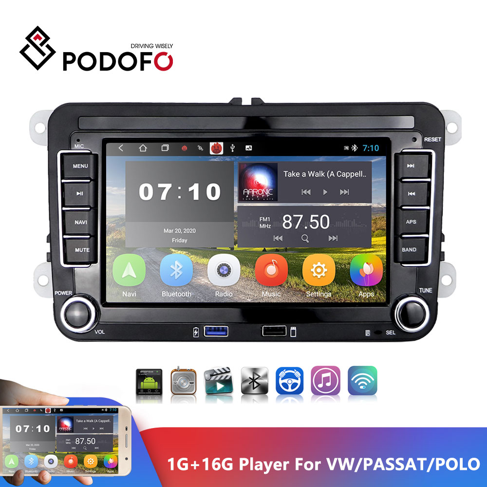 Podofo 2Din Car Player Autoradio 7inch VW Android Touch Screen Car Radio Multimedia Player GPS Navigation Bluetooth TWO USB PORT FM