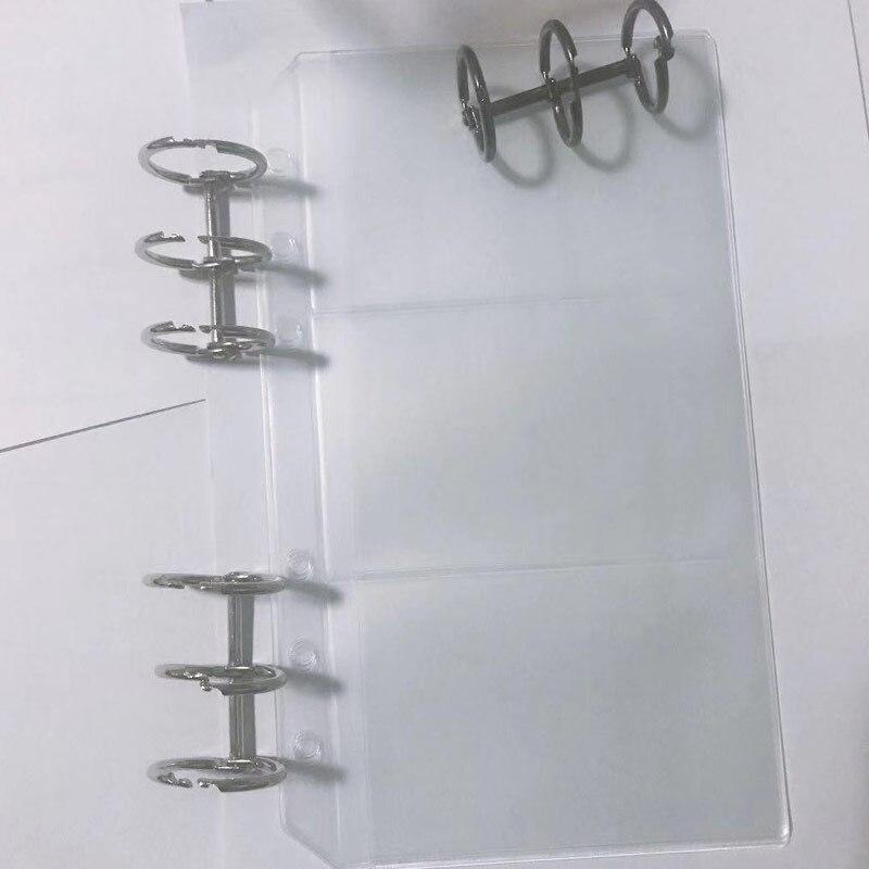 10pcs Loose Leaf PVC Storage Bag A6 Spiral Notebook Filler Transparent And 2pcs Silver Loose-leaf Iron Split Hinged 3-Ring Coil