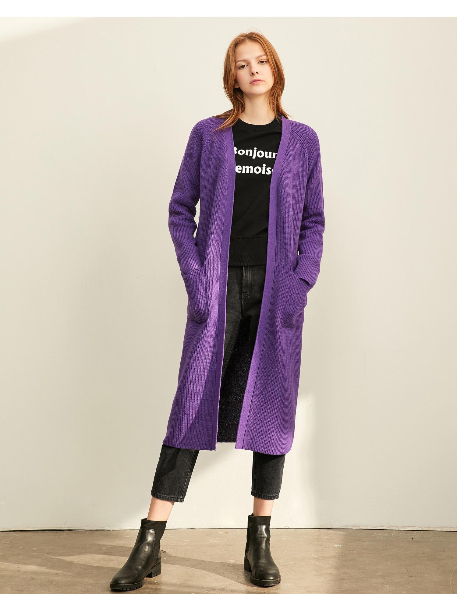 Amii  Fashion Style Lazy Wind Sweater Women 2019 Autumn New Loose V-neck Stitching Long Coat 11970345