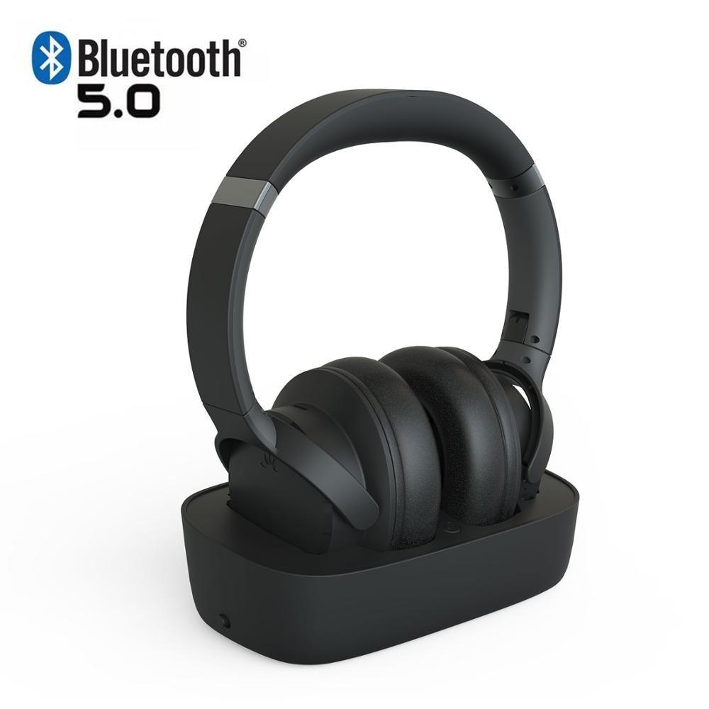 Avantree HT5150 casque sans fil pour regarder la télévision avec station de charge émetteur, optique numérique AUX RCA, Plug n Play