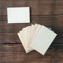 10個の木製/木製の長方形mdfプラーク70 × 49ミリメートルのための未完成クラフト縫製ウッドdiy工芸品