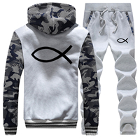 Christian JESUS fish Hoodies Thick Fleece Jacket+Pant 2 PC Sets Men Fashion Brand Sports Suit Outwear Winter Warm Mens Tracksuit