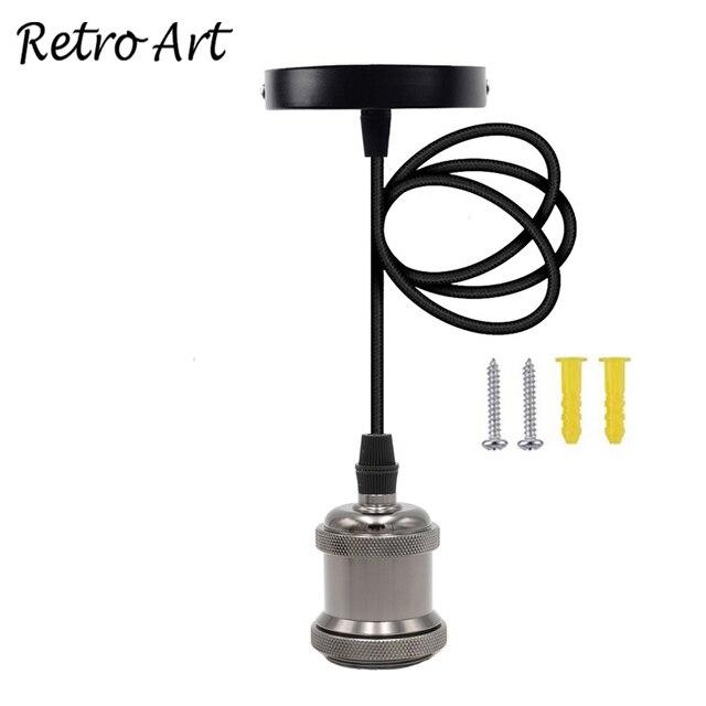 E26/ E27 תקרת תליית טקסטיל כבל מנורת בעל מלוטש תליון אור ערכת התאמה