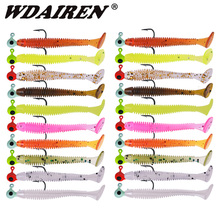 110pcs/Lot Fishing T Tail Worm Soft Lure Set Artificial Silicone Baits With Lead Jig Head Fishhook Carp Bass Fishing Tackle Kit