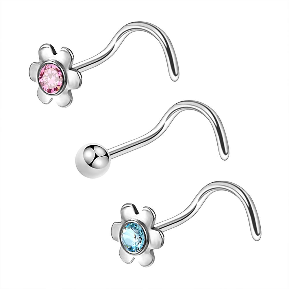 Body Punk 3Pcs 20G Flowers Cute Surgical Steel Nose Ring Nose Stud