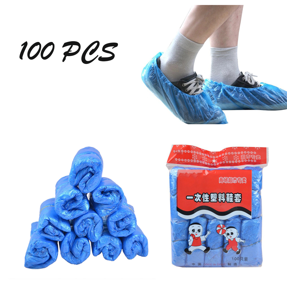 100 Pairs Disposable Boot & Shoe Covers Durable Non-Slip Water Resistant NEW 2020