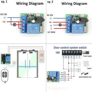 Image 2 - 433 MHz pilot bezprzewodowy rf DC 12V 10A 1CH przekaźnik odbiornik i nadajnik do drzwi elektrycznych/transmisja sygnału