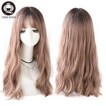 7JHH – perruques Lolita ondulées synthétiques pour femmes, postiche longue marron noir avec frange, perruque deux couleurs pour Cosplay fête
