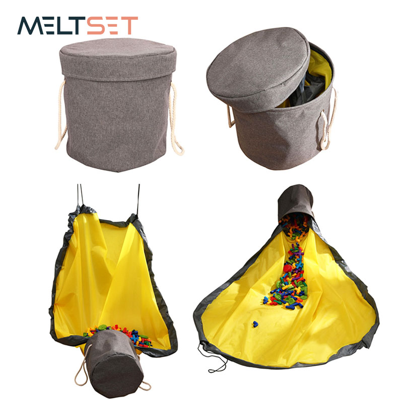 Toy Storage Bucket Bag Play Mat Portable Slide Away Toy Clean-up Storage Buckets Container Large Capacity Toys Organizer Bins with Drawstrings/&Handles Large, Yellow