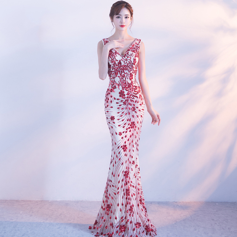 Cocktail Dress Gengli Evening Dress Female 2020 New Autumn Elegant Host Long Princess Fish Tail Banquet Fashion Toast Bride
