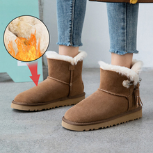 цена на Plus Size 34-43 Luxury Genuine Sheepskin Leather Snow Boots Women Sheep Fur Winter Real Wool Boots Calf Boots Snow Shoes Boots