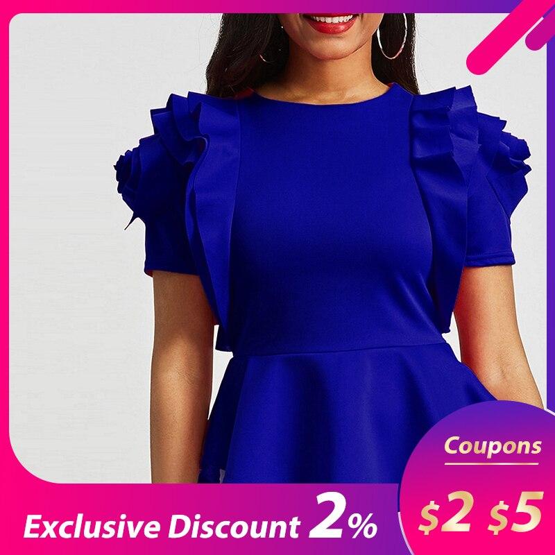 African Women Office Lady Work High Street Summer Cascading Ruffle Slim Blouses Shirts Tops Retro Royal Blue Blouse Shirt Top