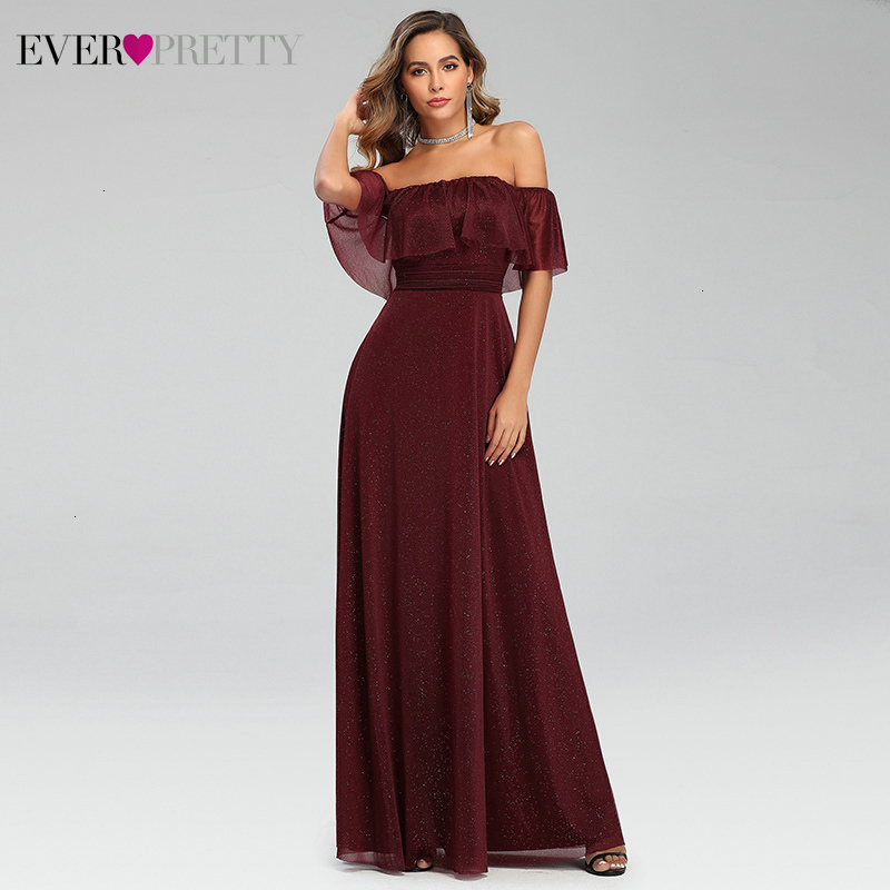 Sparkle Burgundy Prom Dresses Long Ever Pretty A-Line Off The Shoulder Ruffles Elastic Band Sexy Party Gowns Vestidos De Gala