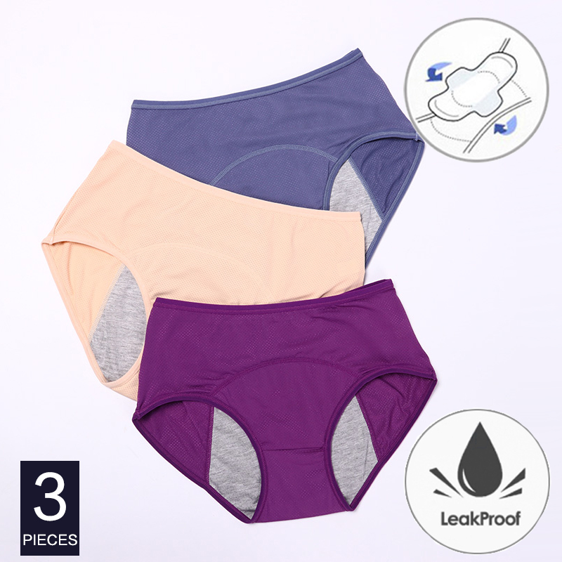 3 adet/takım Menstrual külot kadınlar seksi pantolon sızdırmaz inkontinans pamuk artı boyutu iç çamaşırı kadın külot dönemi iç çamaşırı
