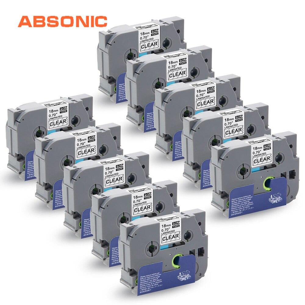 Absionc 10 шт. TZe-141 ламинированные ленты для Brother P-touch PT-2300 PT-D600 PT-P700 производители этикеток черный на прозрачной 12 мм ленты принтера