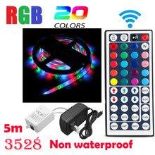 5 Non สีกันน้ำเปลี่ยน RGB SMD3528 300 LEDs Strip Light + 44 คีย์ REMOTE 12V + 2A แหล่งจ่ายไฟ