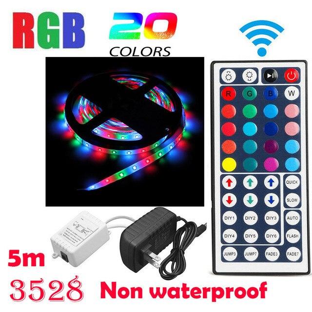 5 מטר ללא עמיד למים גמיש צבע שינוי RGB SMD3528 300 נוריות רצועת אור + חדש 44 מפתח מרחוק בקרת 12V + 2A אספקת חשמל