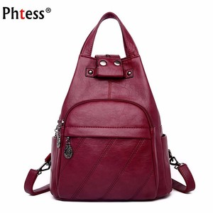 Image 1 - Women Leather Backpacks Mochilas Female Back Pack School Bags For Girls Ladies Bagpack Solid Large Capacity Travel Back Pack New