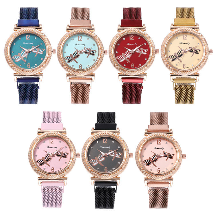 With Series Bracelet Watch Beautiful Dragonfly Design Diamond-encrusted Bracelet Watch Joker Fashion Watches