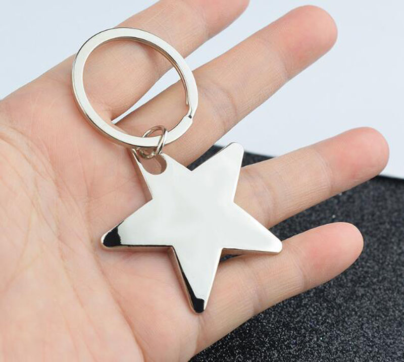 New Metal Star Keychain New Pentagram Keychain Charm Car Keyring Party Gift Jewelry 3063