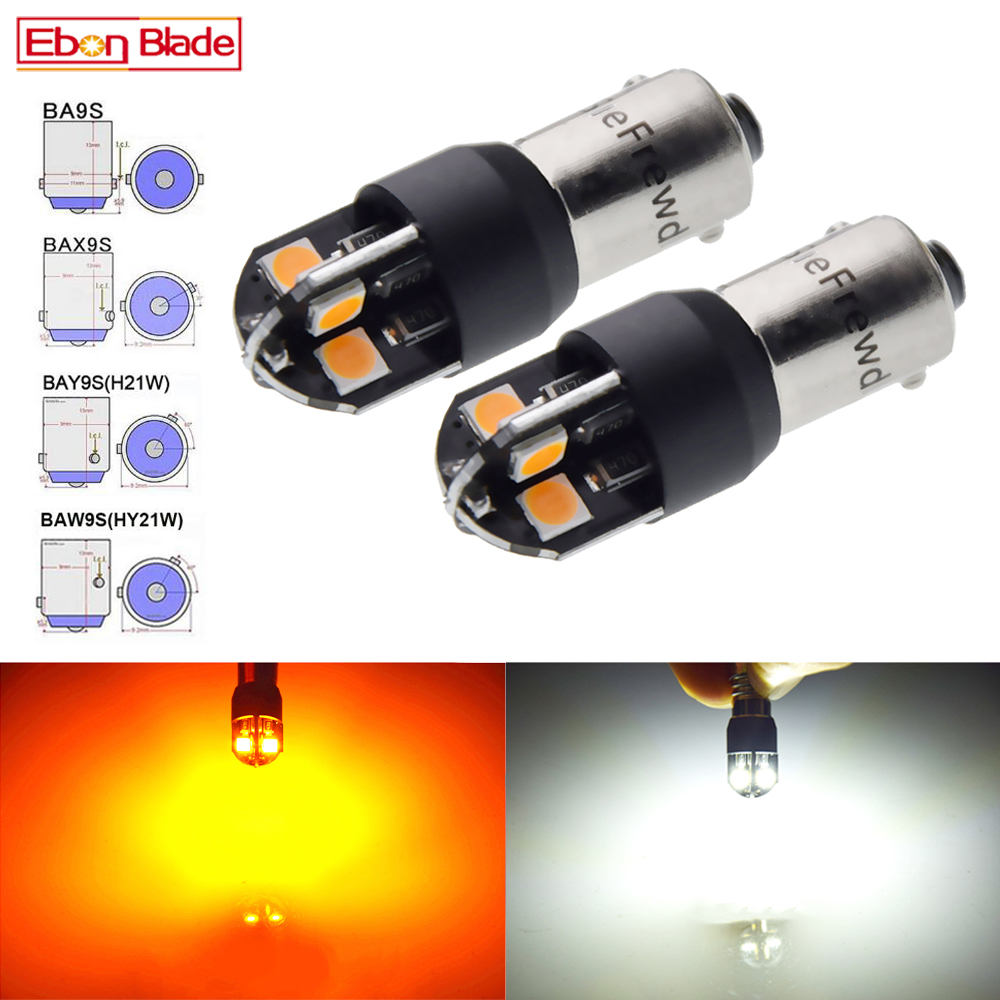 2x H21W BAY9S BA9S T4W BAX9S H6W BAW9S HY21W Canbus LED Car Auto Backup Reverse Light Turn Bulb Side Lamp White Amber 6V 12V 24V image