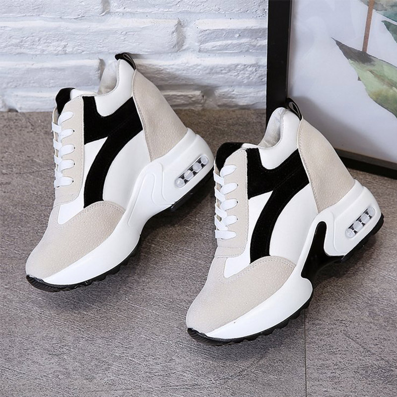 Women Platform Vulcanized Shoes Ladies Lace Up Casual Light Suede Shoes Woman Fashion Sneakers Female Ankle Heel Footwear 2020 5