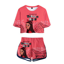 Trendy explosion ladies 3D suit American new generation female singer Ariana Grande printing sexy short T-shirt + shorts