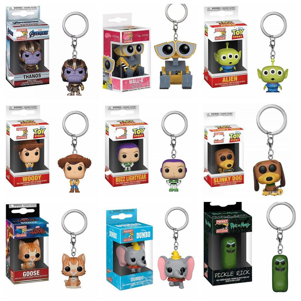 Dumbo Stranger Things Toy Story 4 Stan Lee Captain Marvel Goose Wall-E Eva Keychain Toys Action Figure Collectible Model Dolls