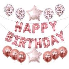 Ballons en Latex avec lettres de joyeux anniversaire, 16 pouces, décoration de fête d'anniversaire, ballons à Air Alphabet pour enfants, fournitures de fête prénatale