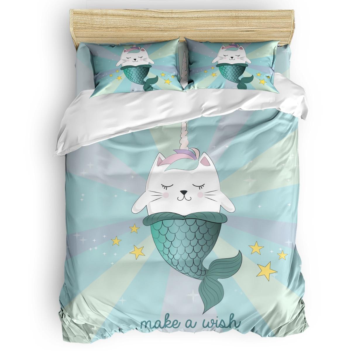 Набор пододеяльников с рисунком кошки русалки единорога 2/3/4 шт. Комплект постельного белья простыня наволочки
