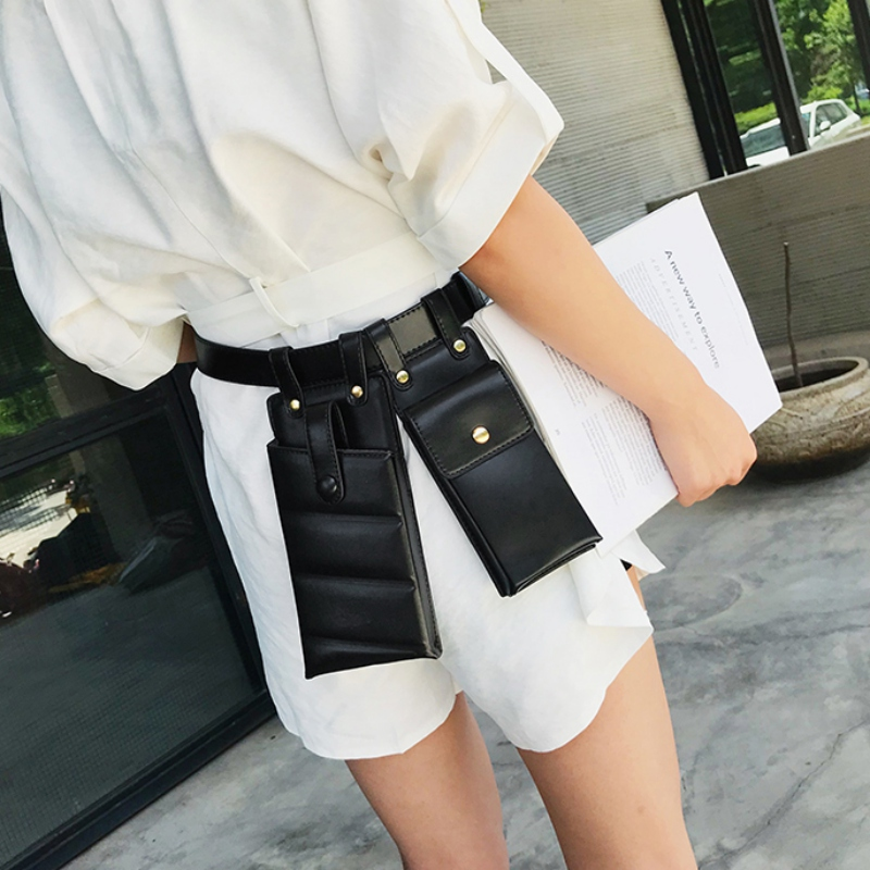 Fashion Women Waist Bag Fashion Leather Waist Belt Bag Crossbody Chest Bags Fanny Pack Adjustable Phone Shoulder Pack 4 Colors