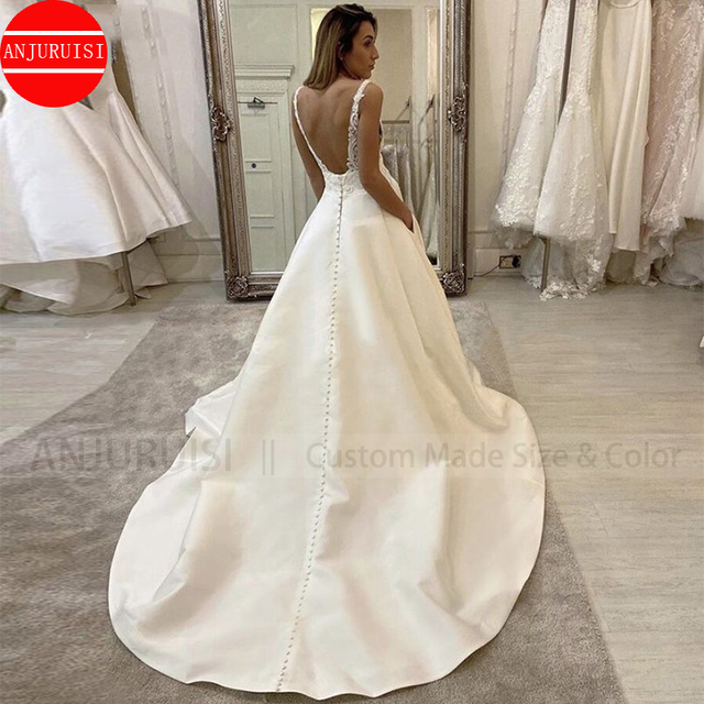 Sexy Deep V Neck Wedding Dress 2020 Boho vestido de noiva White Satin A Line Bridal Gowns Simple Appliques Back Less With Pocket 2