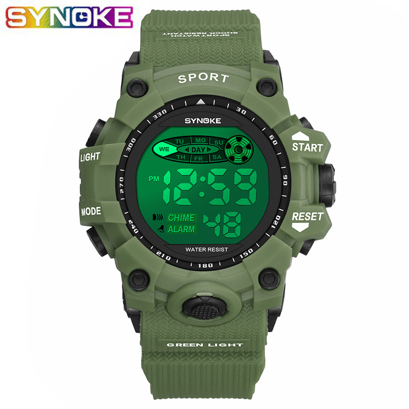 SYNOKE Kids Military Digital Watch Sports Colorful Led Luminous Alarm Clocks Stop Watch Boy Girl Students Children Wrist Watch