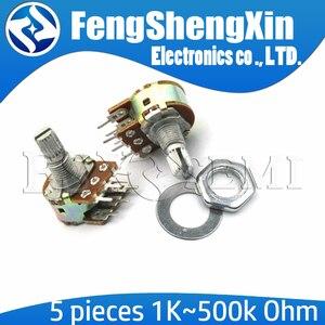 5pcs/lot New B1K B2K B5K B10K B20K B50K B100K B500K B1M 6Pin Shaft WH148 Potentiometer 1K 2K 5K 10K 20K 50K 100K 500K 1M
