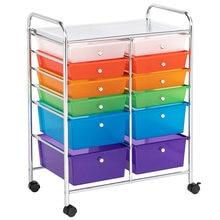 Многоцветная тележка органайзер с 12 ящиками двухрядная верхняя