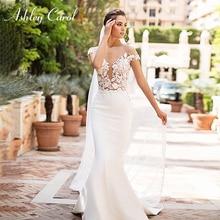 Ashley Carol Sexy Soft Satin Mermaid Wedding Dresses 2020 Off the Shoulder Beaded Lace Illusion Bride Dress Button Wedding Gowns