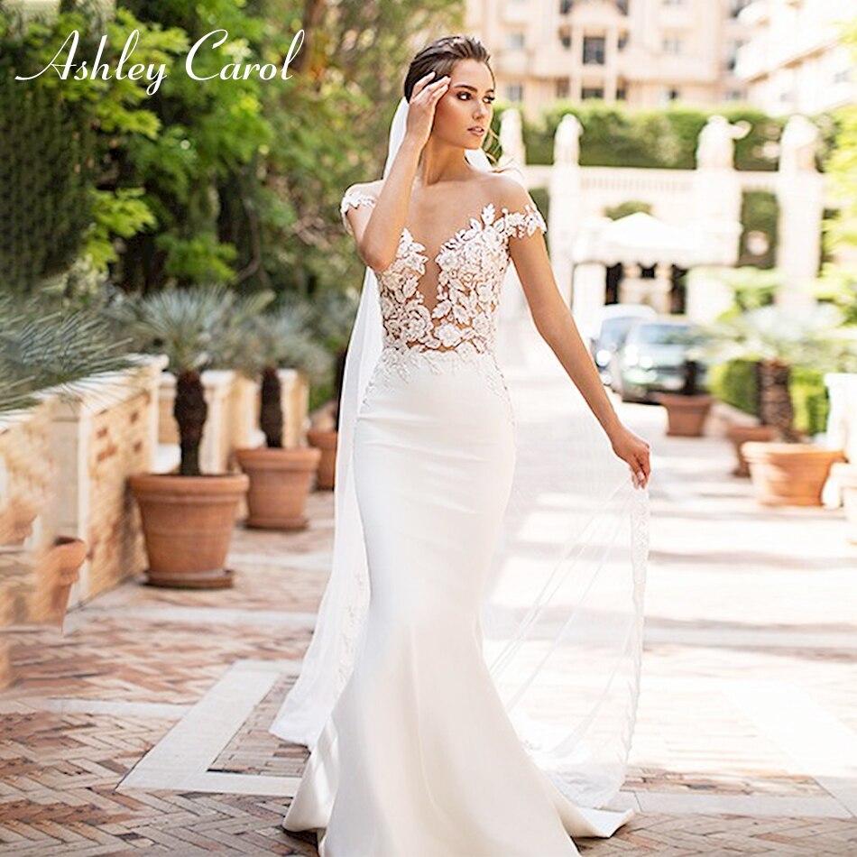 Ashley Carol Sexy V-neckline Beading Soft Satin Mermaid Wedding Dress 2019 Vintage Backless Bride Dress Romantic Wedding Gowns
