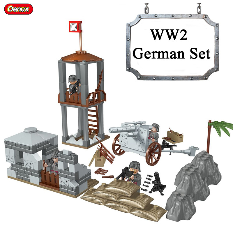 Oenux New WW2 Mini German Army Soldiers Figures Building Block World War 2 Military Weapons Legoings Brick MOC Toy For Children