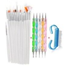 цена на 21Pcs Nail Art Metal Acrylic Liquid Powder Carving UV Gel Extension Builder Painting Drawing Liner Brush Cleaning Tool