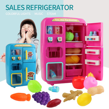 9pcs pretend play simulation food kitchen toys sweet food children cooking toys 3d refrigerator magnets stickers ice cream cake Children Pretend Play Toys Simulation Double Refrigerator Vending Machine Toys Kids Kitchen Food Toy Mini Play House Girls Toys